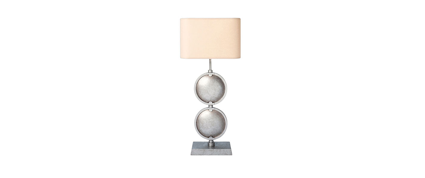 Double Discus Table Lamp handmade by Blackbird Bespoke for AUTHOR's luxury collection of British-made home accessories