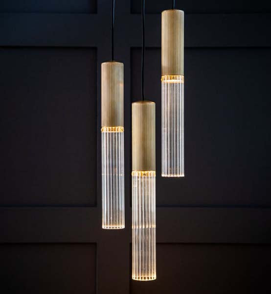 Flume 50 Pendant Light - 3 Drop Grouping by J. Adams & Co for AUTHOR's collection of British made luxury lighting