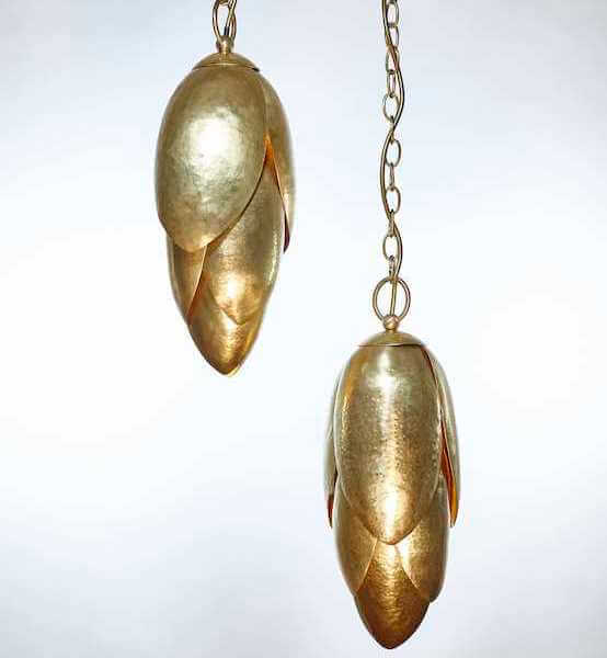Hammered bronze ceiling pendant made in UK by Cocovara London for AUTHOR Interiors
