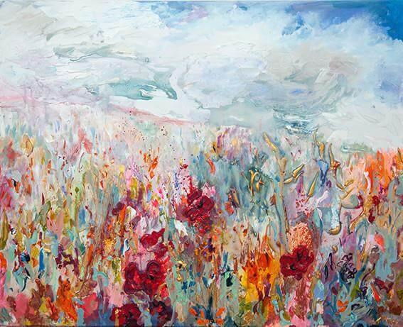 Fields of Coral hand finished print by Hatti Pattisson for AUTHOR's collection of British-made luxury art