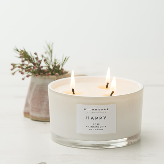 Aromatherapy Triple Wick Candle by Wildheart Organics for AUTHOR's luxury collection of unique British-made home accessories