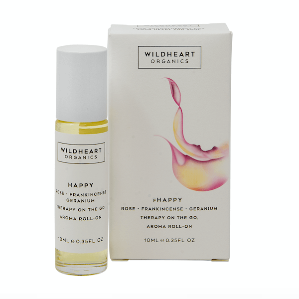 Aromatherapy roll on for pulse points in a happy scent of rose, frankincense and geranium by Wildheart Organics for AUTHOR Interiors