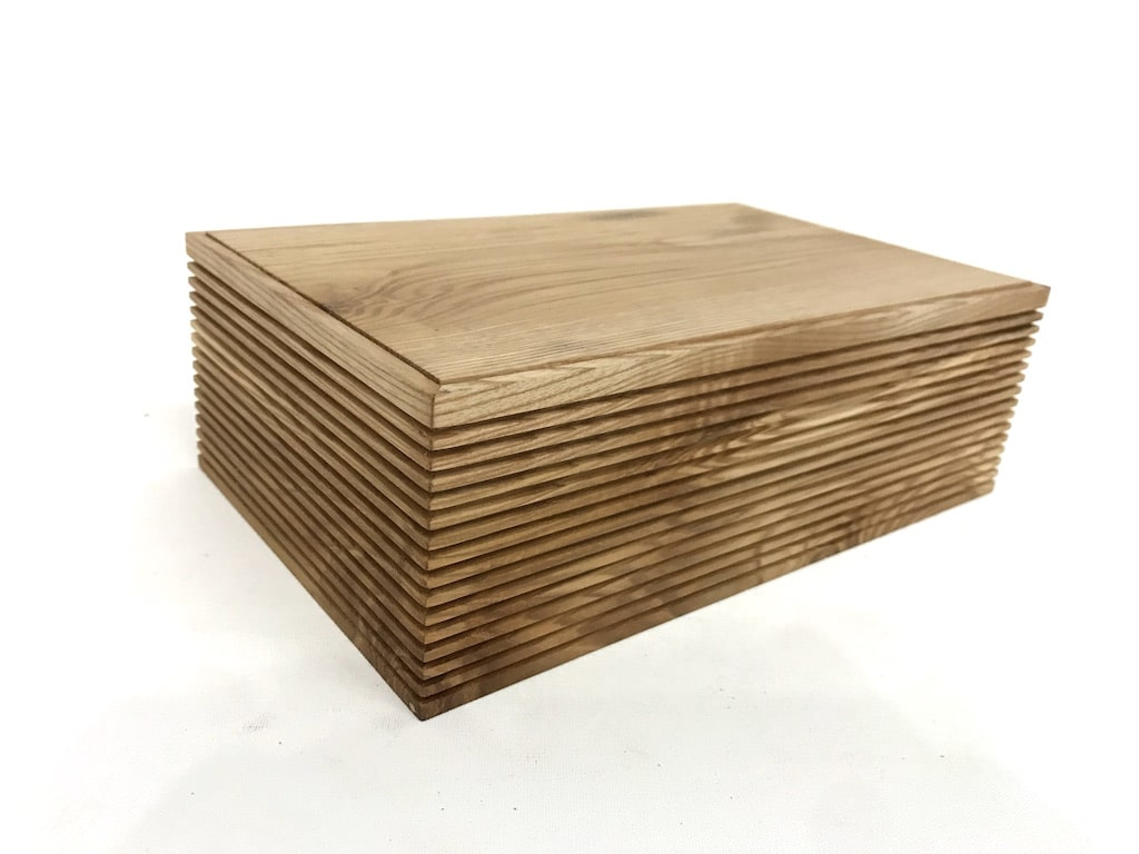 Stunning Ash and Sycamore trinket box handmade in Britain by Jonathon Vaiksaar for AUTHOR Interiors