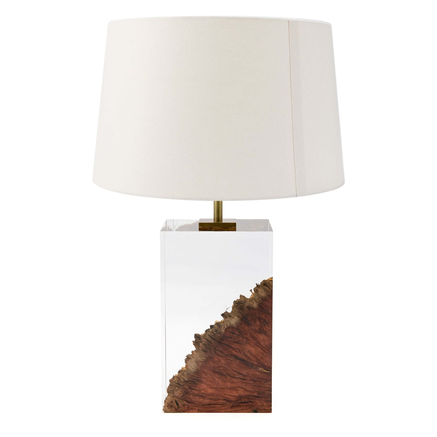 Jarrah wood and acrylic table lamp made in UK by Iluka London for AUTHOR Interiors