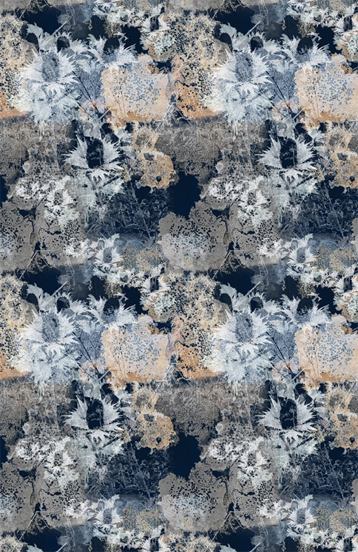 Coruisk Ink Wallpaper by Mairi Helena - abstract navy and white wallpaper with thistle design