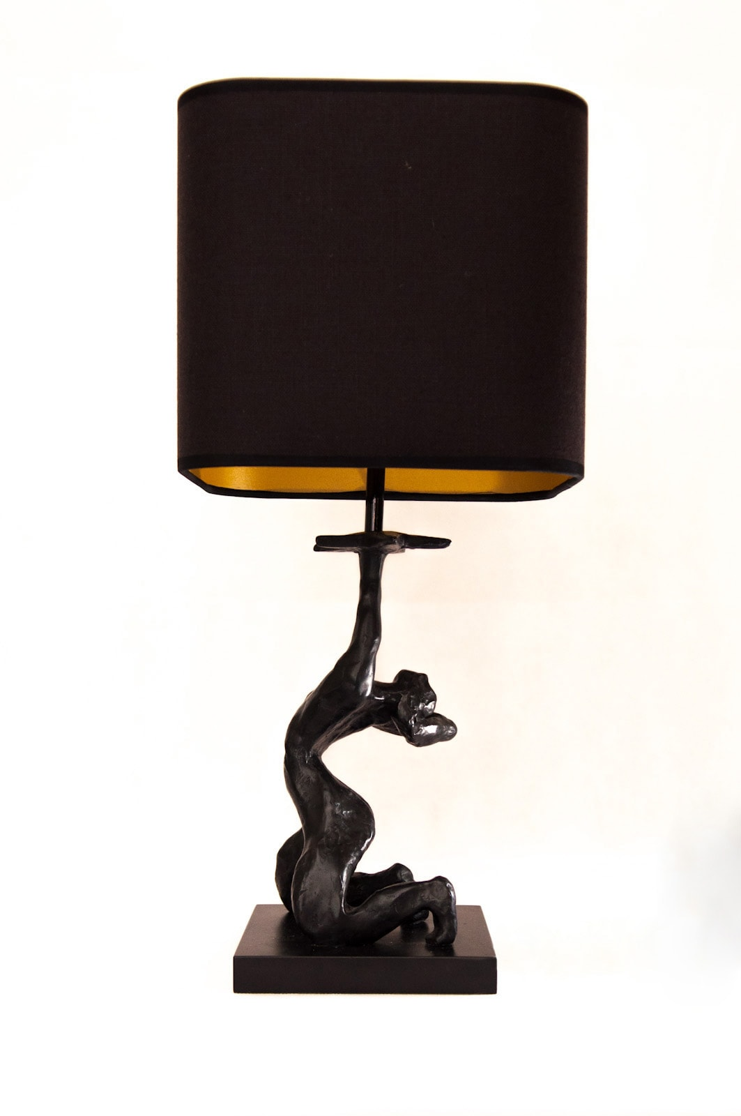 Paris bronzed lamp base with black and gold lampshade by Kinkatou for AUTHOR
