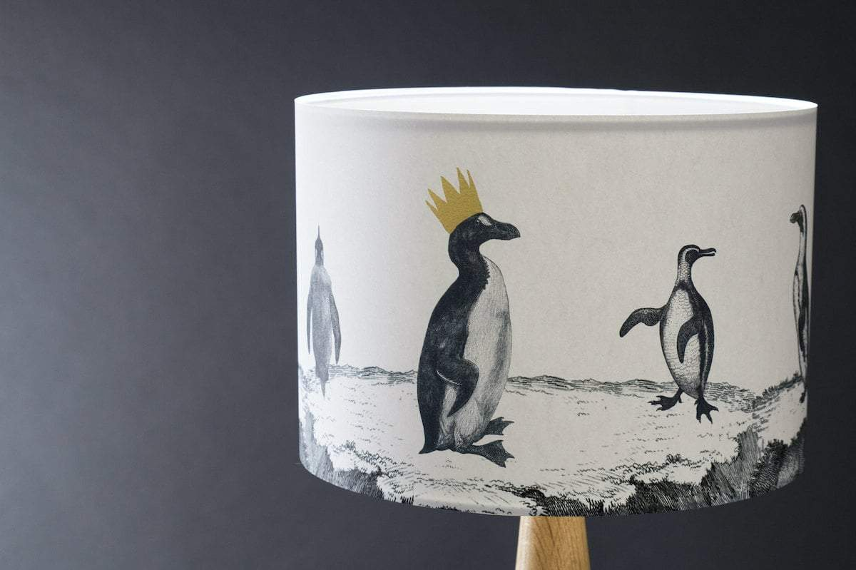 Penguins on Parade Lampshade by Mountain & Molehill for AUTHOR's unique collections of British-made home accessories