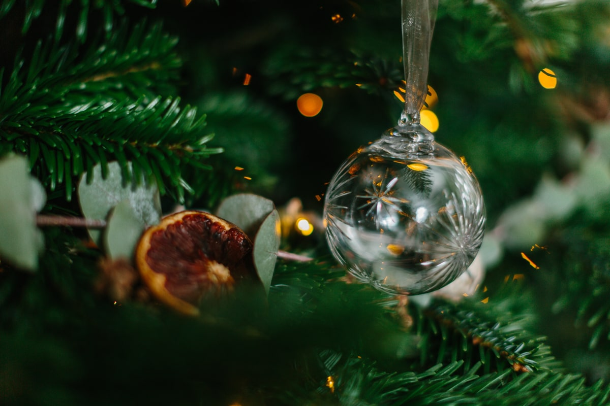 Crystal Christmas Baubles handblown by Cumbria Crystal for AUTHOR