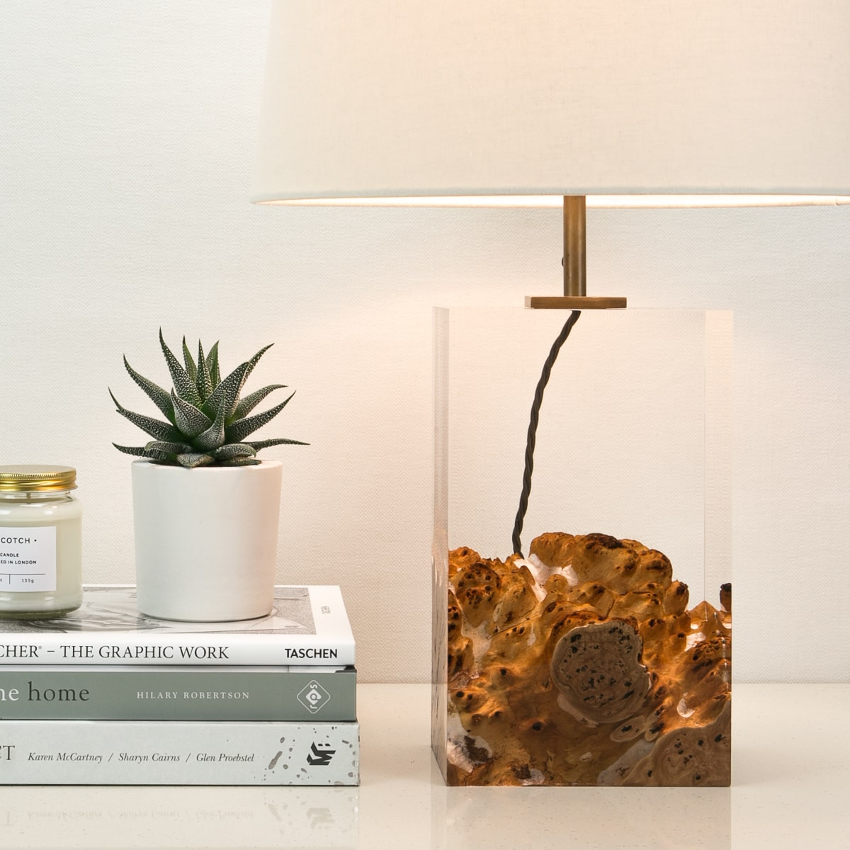 Silver Gimlet and Acrylic Table Lamp by Iluka London for AUTHOR