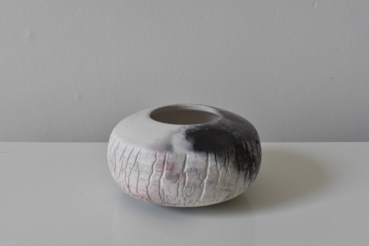Smoke Fired Textured Sea Orb by Wayne Galloway Ceramics for AUTHOR's collection of British-made home decor