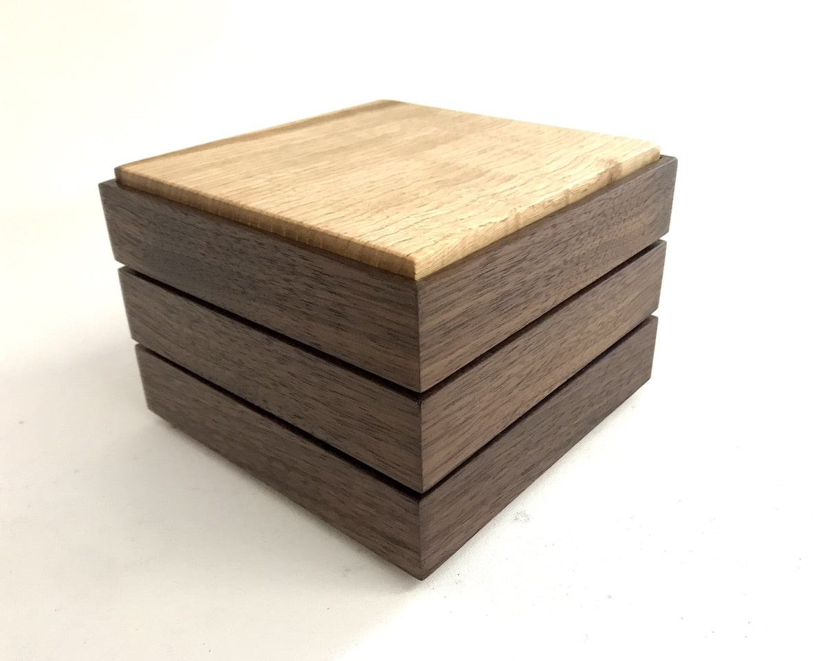 Walnut and Chestnut Stacking Box by Jonathon Vaiksaar for AUTHOR's collections of unique British-made home accessories