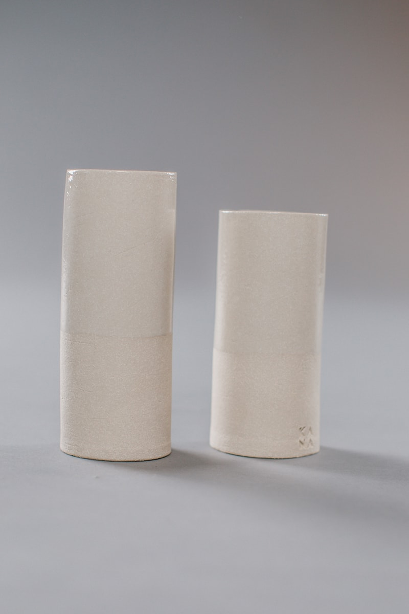 White Sand Vases No.1 and No.2 by KANA London for AUTHOR's collections of unique British-made home accessories