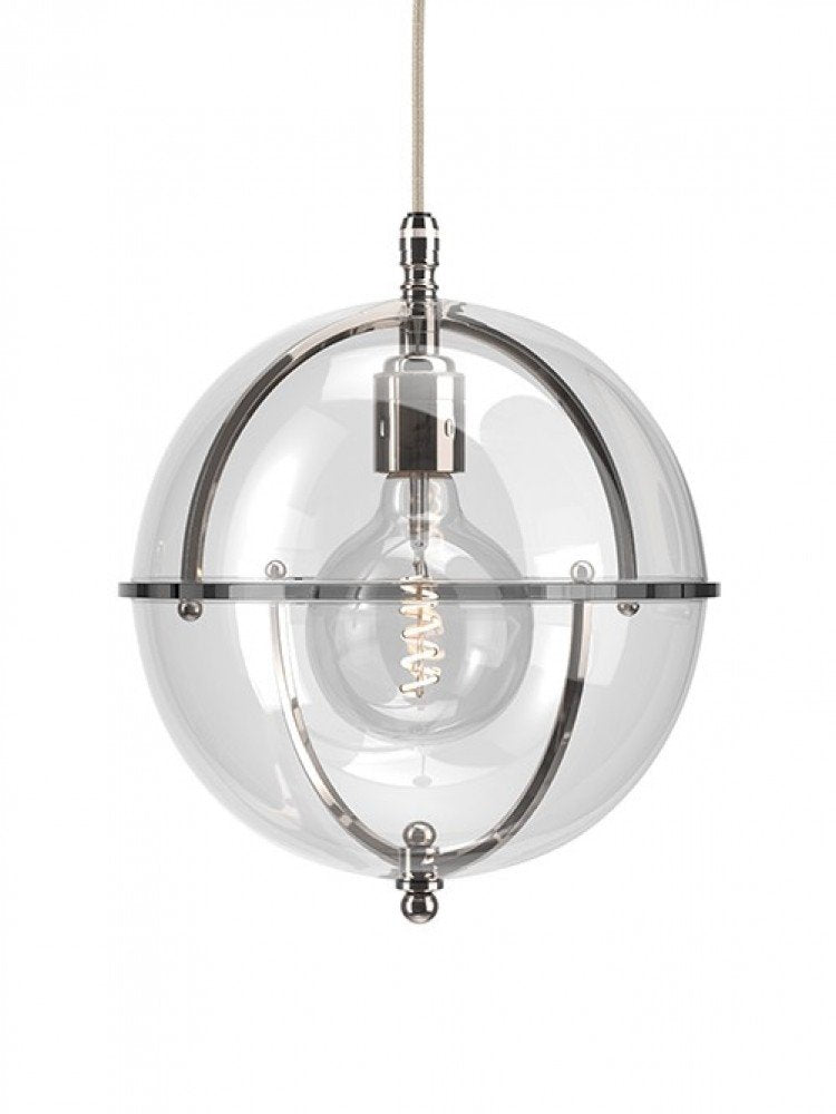 The Grafton Globe Pendant with Nickel by Fritz Fryer for AUTHOR's luxury collections of British-made home accessories