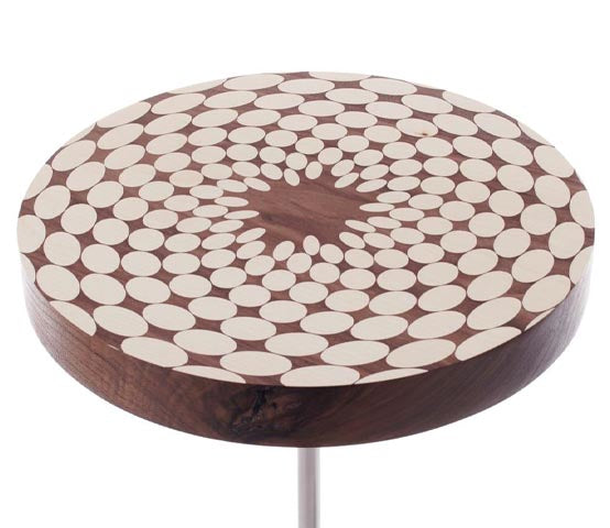 Fibonacci Side Table by Roger Nathan marquetry table for AUTHOR's collection of British made luxury side tables