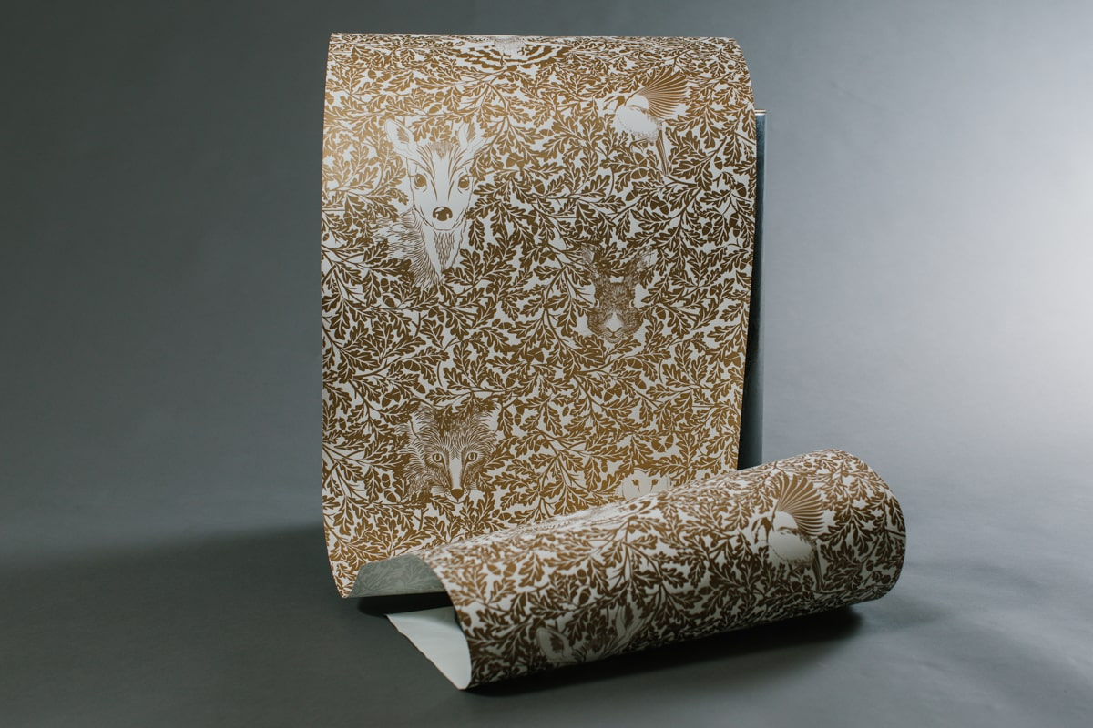 Forest Wallpaper in gold made by Hevensent for AUTHOR Interiors