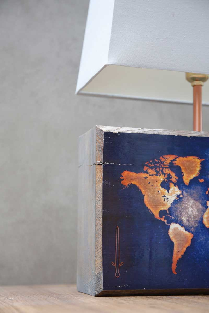 Grey World Map Table Lamp by Cappa E Spada for AUTHOR's collection of unique British-made lighting