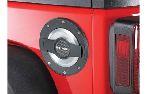 JEEP JK FUEL DOOR-BLACK/SILVER