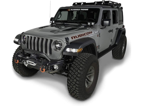 Rugged Ridge Front Recovery Bumper, Arcus, w/ Winch Tray & Tow Hooks and overrider, JL wrangler (11549.05)