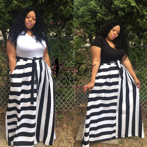 STRIPED MAXI SKIRT-BLACK