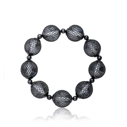 Riccova Country Chic Black Rhodium Mesh Over Lucite Balls Stretch Bracelet/ Brass