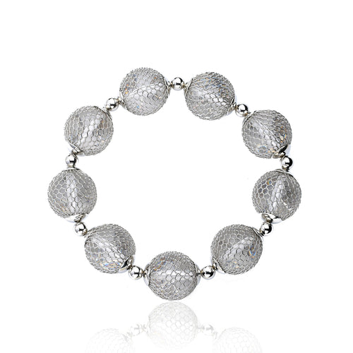 Riccova Country Chic Rhodium Mesh Over Lucite Ball Stretch Bracelet/ Brass