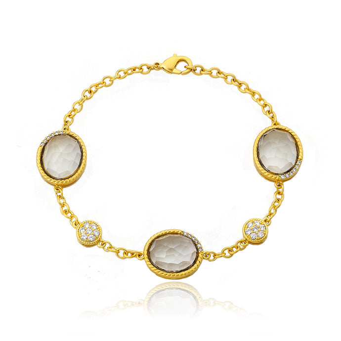 Riccova City Lights 14k Gold-Plated Cubic Zirconia & Faceted Glass Chain Bracelet/ Brass
