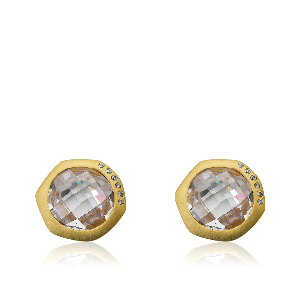 Riccova City Lights Satin 14k Gold-Plated Cubic Zirconia Accented Faceted Clear Stone Round Stud Earring/ Brass