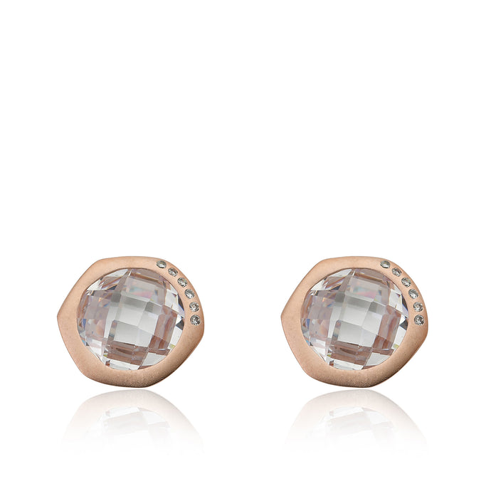 Riccova City Lights Satin Rose Gold-Plated Cubic Zirconia Accented Faceted Clear Stone Round Stud Earring/ Brass