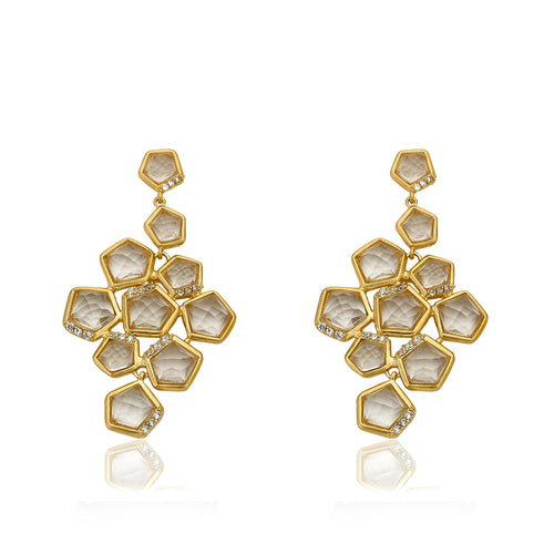 Riccova City Lights Gold-Plated Cubic Zirconia Accented Clear Faceted Crystal Stones Large Chandelier Dangle Earring/ Brass