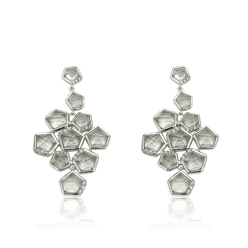 Riccova City Lights Rhodium-Plated Cubic Zirconia Accented Clear Faceted Crystal Stones Large Chandelier Dangle Earring/ Brass
