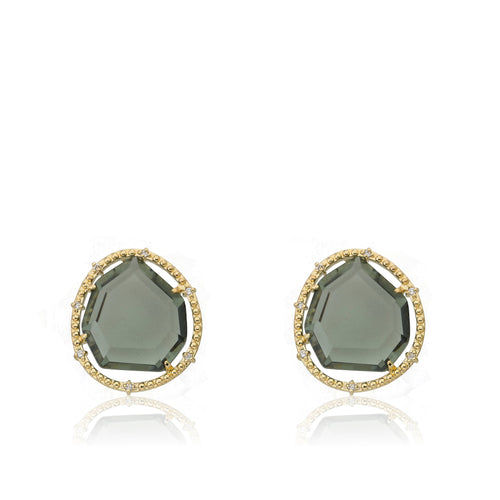 Riccova Sliced Glass 14k Gold-Plated Black Sliced Glass Stud Earring Brass