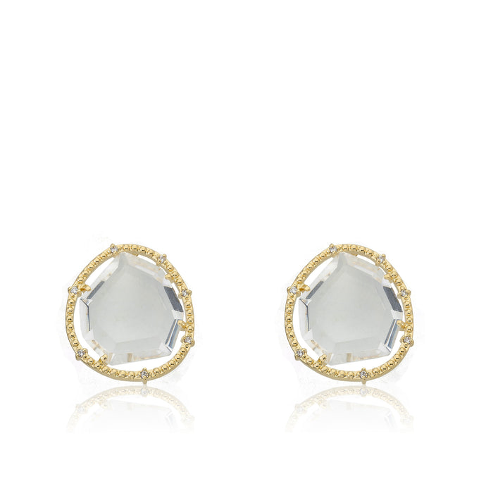 Riccova Sliced Glass 14k Gold-Plated Clear Sliced Glass Stud Earring Brass