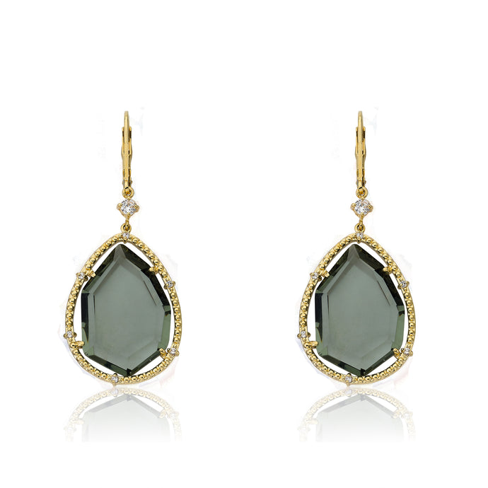 Riccova Sliced Glass 14k Gold-Plated CZ Trimmed Black-Green Sliced Glass Teardrop Dangle Earring