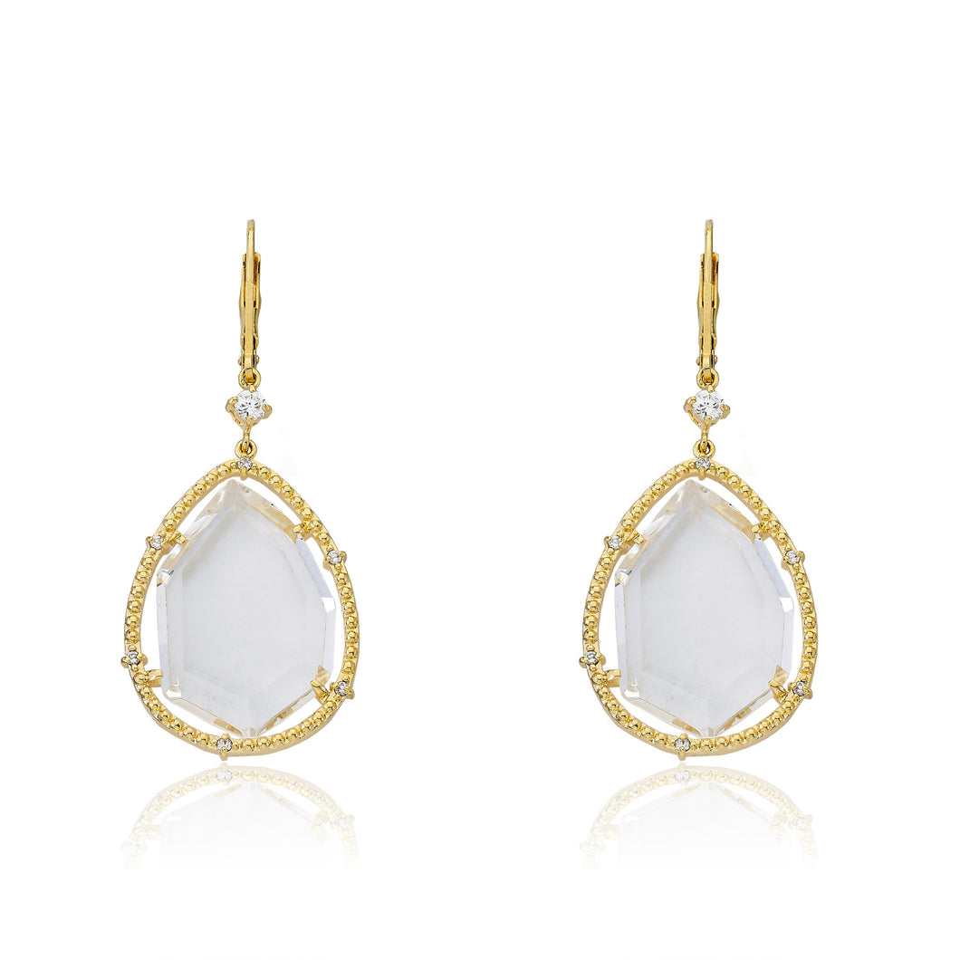 Riccova Sliced Glass 14k Gold-Plated CZ Trimmed Clear Sliced Glass Teardrop Dangle Earring Brass