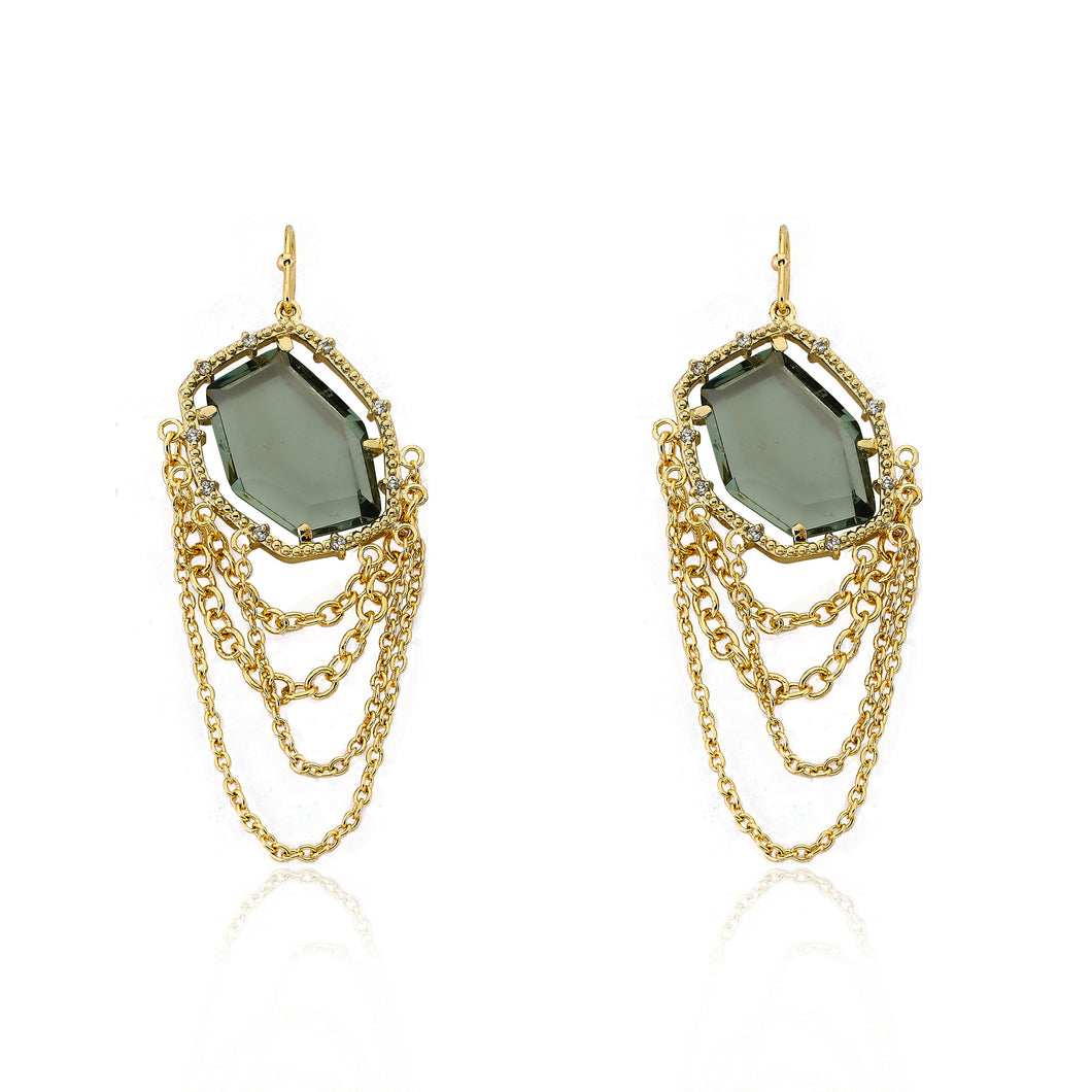 Riccova Sliced Glass 14k Gold-Plated Black Sliced Glass & Chains Dangle Earring Brass