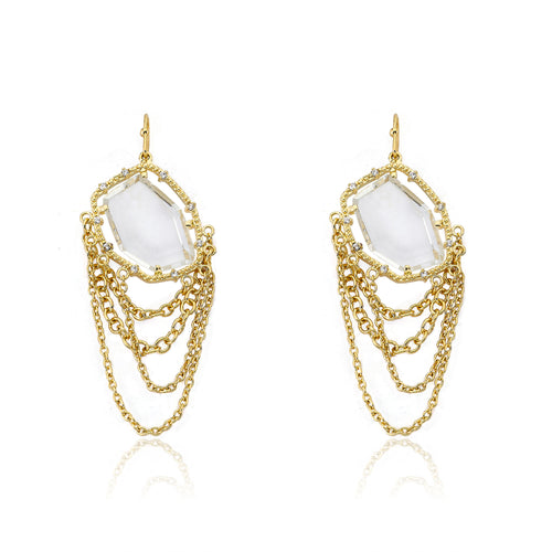 Riccova Sliced Glass 14k Gold-Plated Clear Sliced Glass & Chains Dangle Earring Brass