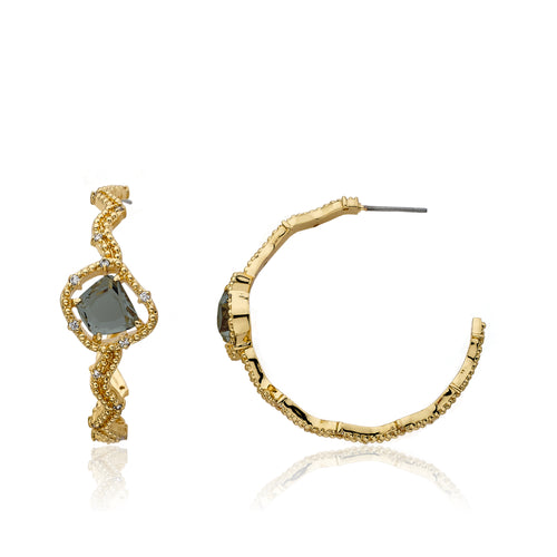 Riccova Sliced Glass 14k Gold-Plated Cz Accented Zigzag Hoop Earring Accented With Black Sliced Glass Center Stone