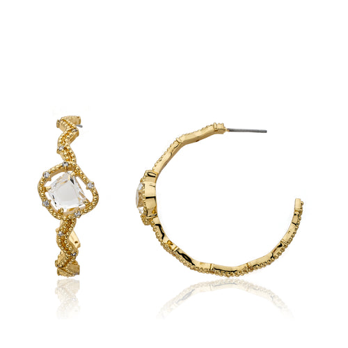 Riccova Sliced Glass 14k Gold-Plated Cz Accented Zigzag Hoop Earring Accented With Clear Sliced Glass Center Stone
