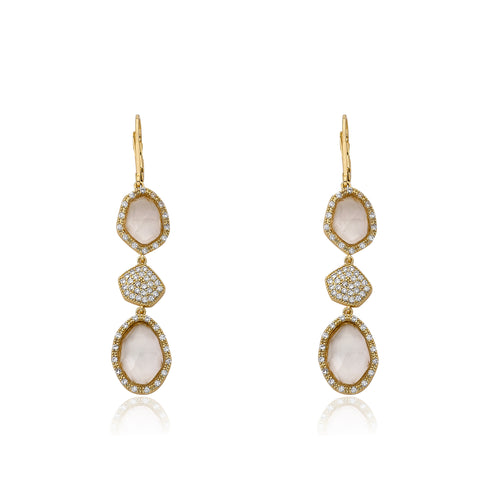 Riccova City Lights 14k Gold-Plated CZ & Faceted Glass Dangle Leverback Earring/ Brass
