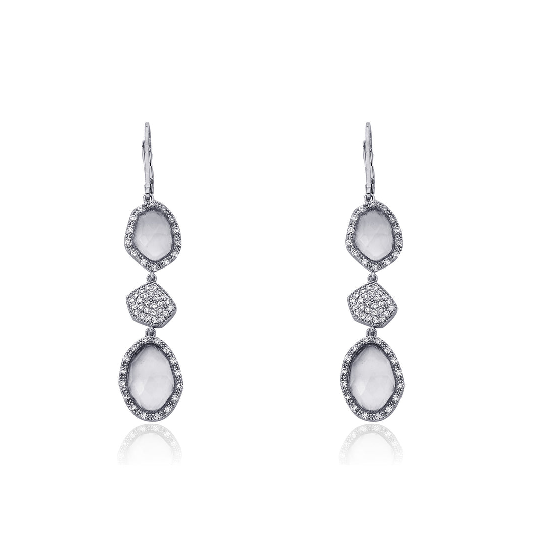 Riccova Riccova City Lights Rhodium-Plated CZ & Faceted Glass Dangle Leverback Earring/ Brass