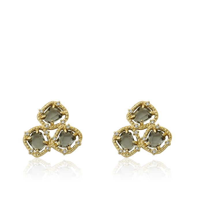 Riccova Sliced Glass 14k Gold-Plated CZ Around Black Sliced Glass Stud Earring