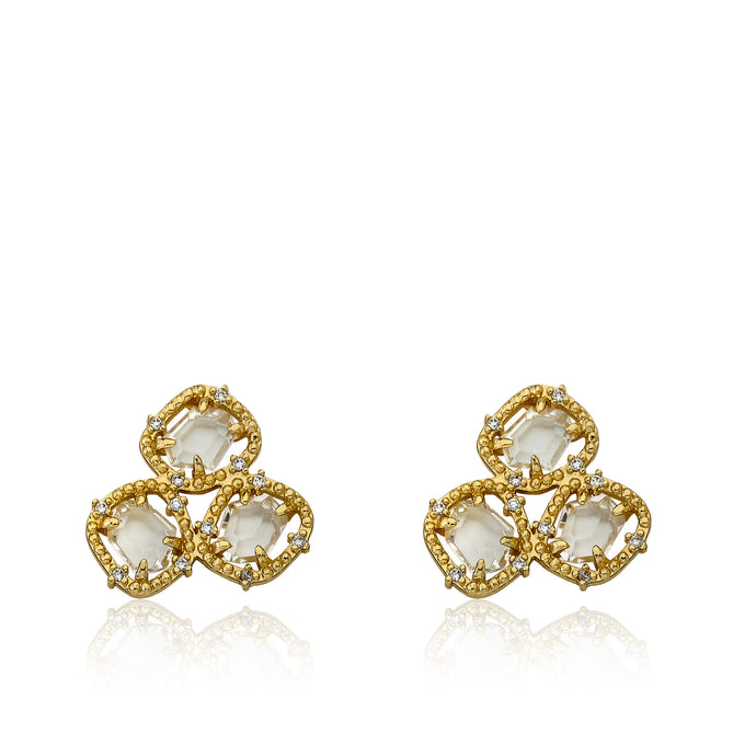 Riccova Sliced Glass 14k Gold-Plated CZ Around Clear Sliced Glass Stud Earring/ Brass