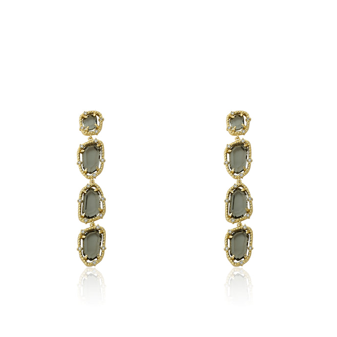 Riccova Sliced Glass 14k Gold Plated Cz Around Black Sliced Glass Long Dangle Earring