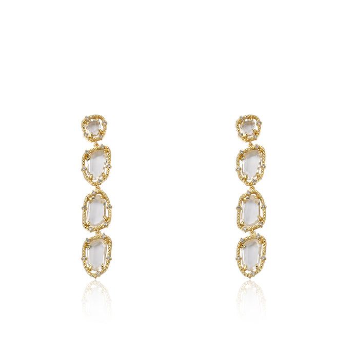 Riccova Sliced Glass 14k Gold Plated Cz Around Clear Sliced Glass Long Dangle Earring