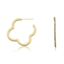 Riccova Retro 14 Kt. Gold Plated CZ Flower Hoop Earring