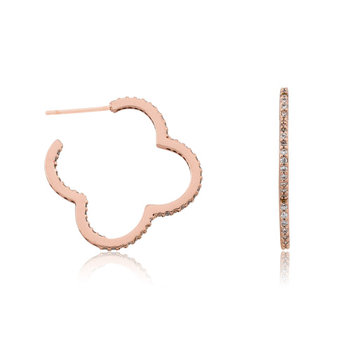 Riccova Retro Rose Gold Plated CZ Flower Hoop Earring