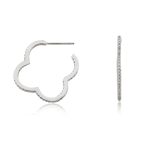 Riccova Retro Rhodium  Plated CZ Flower Hoop Earring
