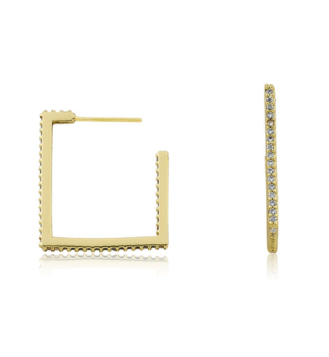 Riccova Retro 14kt Gold Plated CZ Square Hoop Earring
