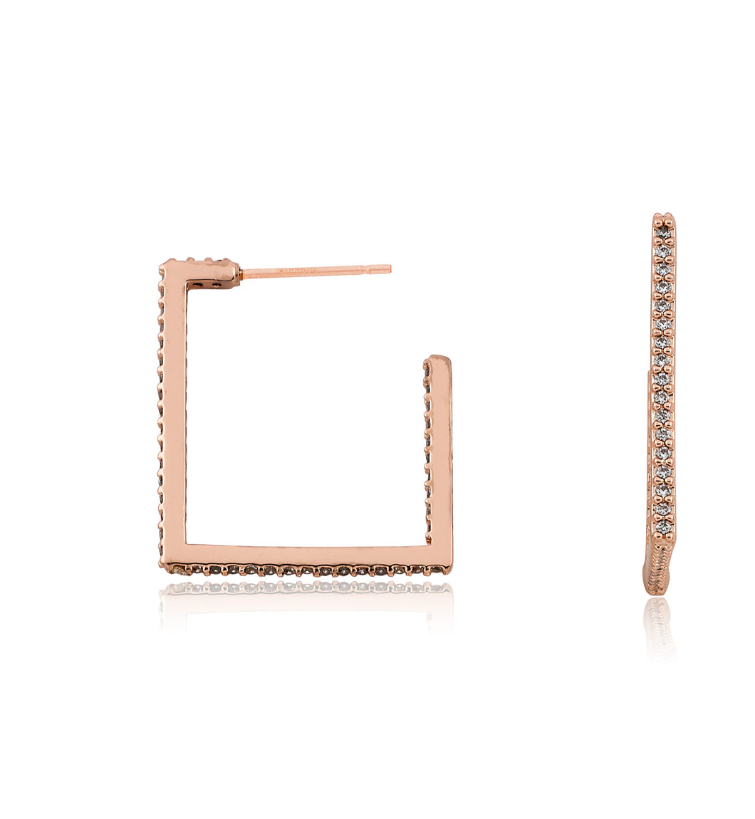 Riccova Retro Rose Gold Plated CZ Square Hoop Earring