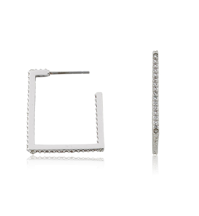 Riccova Retro Rhodium Plated CZ Square Hoop Earring